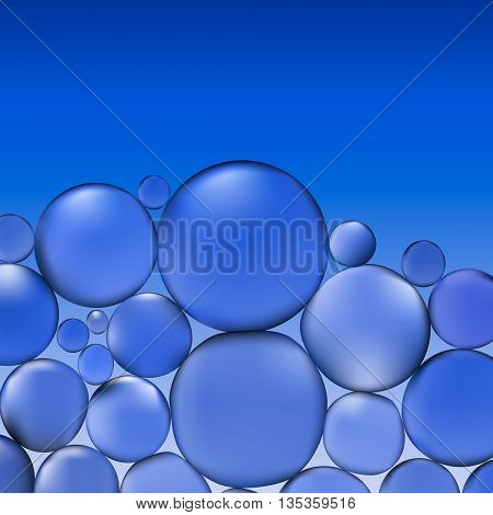 abstract vector water with bubbles. Bubbles in water on blue background pattern. Circle and liquid, light design, clear soapy shiny, vector illustration.