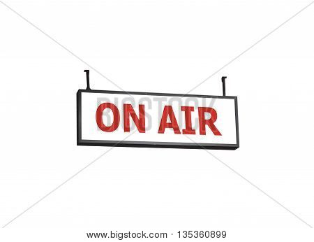 On air signboard on white background, stock photo