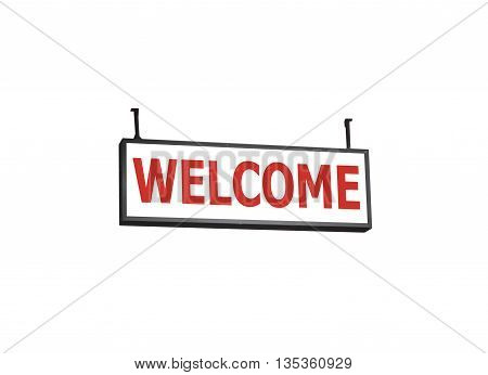 Welcome signboard on white background, stock photo