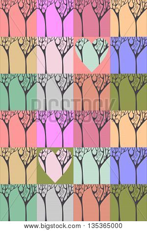 Seamless pattern with beautiful elfish forest. Tree silhouettes on colorful background. Vector illustration.