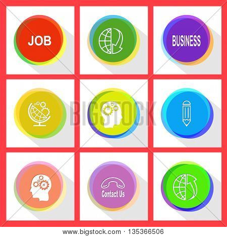 job, globe and array down, business, globe and gears, human brain, pencil, contact us, globe and array up. Business set. Internet template. Vector icons.
