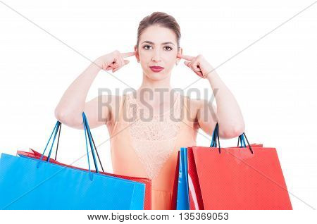 Woman Shopper Covering Her Ears With Index Fingers