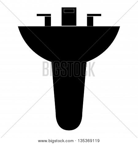 black silhouette bathroom sink icon vector illustration