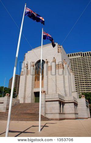 anzac war memorial in hyde park sydney australian flags poster