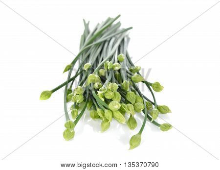 uncooked Chives flower or Chinese Chives on white background