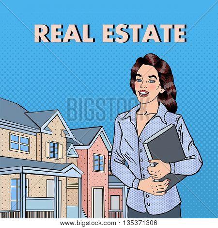 Woman Real Estate Agent. Female Broker Near New House. Pop Art. Vector illustration