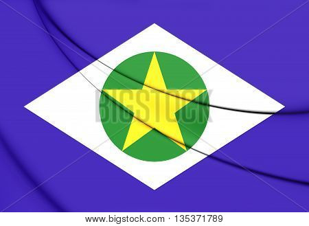 Flag Of Mato Grosso, Brazil. 3D Illustration.