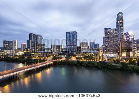 View of Austin downtown illuminated at night. Texas United States