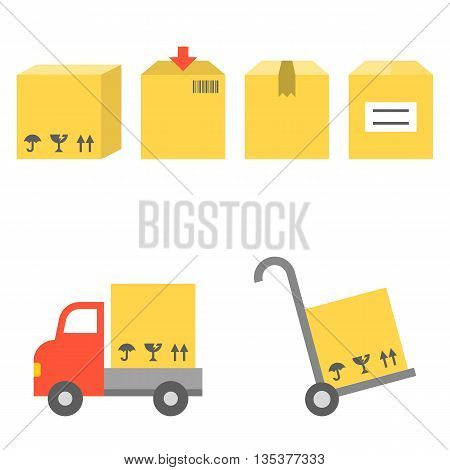 Vector shipping and handtruck icons set, flat design