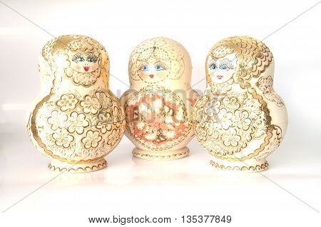matrushkas typical Russian doll on white background