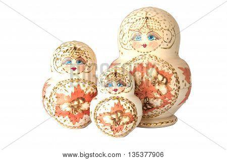matryoshka doll on white souvenir at russian