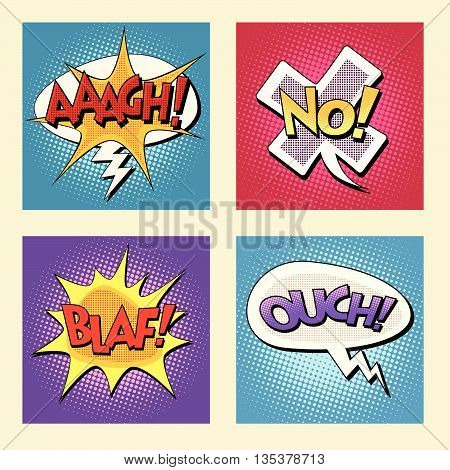 Set of retro comic bubbles pop art phrases vector. Aaagh No Blaf Ouch