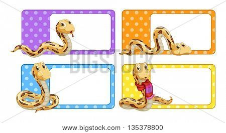 Polkadot labels with snakes illustration