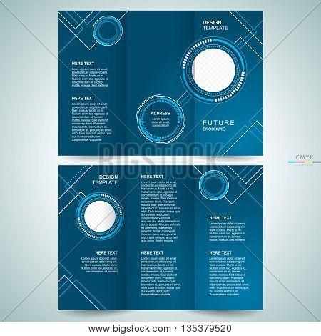 brochure design template cover tri-fold futuristic hi-tech