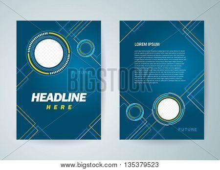 Business brochure design template flyer futuristic hi-tech