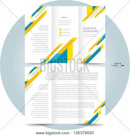 business brochure design template tri-fold abstract stripes