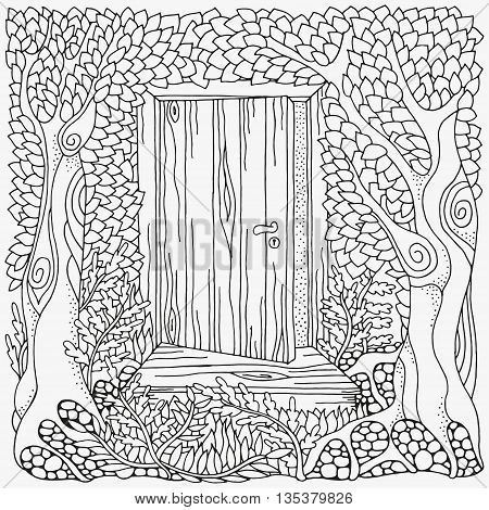 Black and white abstract fantasy picture. Old tree leaf door. Eco theme. Pattern for coloring book. Hand-drawn ethnic retro doodle vector zentangle tribal design element. Zentangle.