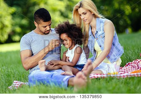 Family enjoying picnicking in nature and smiling