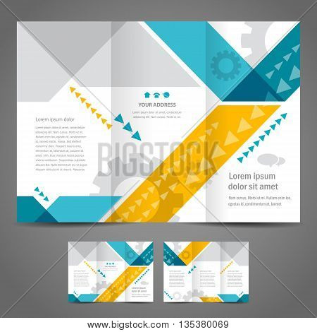 Brochure design template vector tri-fold stripes geometric abstract