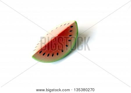 modal watermelon fruit image from ceramic on white