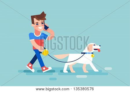 Young man walks his dog and talking on the phone. Modern vector illustration in flat style.