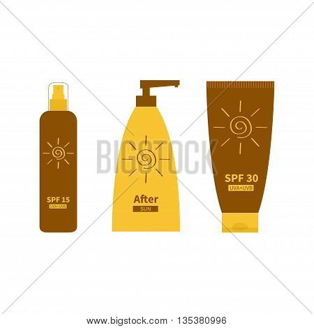 Tube of sunscreen suntan oil cream. After sun lotion. Bottle set. Solar defence. Spiral sun sign symbol icon. SPF 15 30 sun protection factor. UVA UVB sunscreen. Isolated White background. Flat Vector