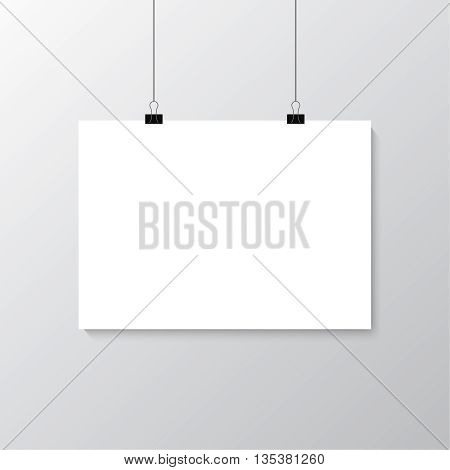 Image vector white poster hanging on binder. Grey wall with mock up empty paper blank. Layout mockup. Horizontal template sheet.