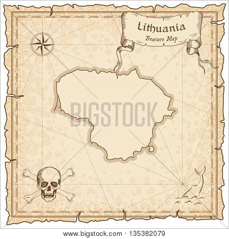 Lithuania Old Pirate Map. Sepia Engraved Template Of Treasure Map. Stylized Pirate Map On Vintage Pa