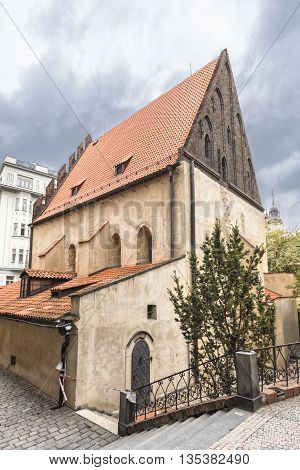 Prague Czech Republic - May 25 2016: The Old New Synagogue is oldest active synagogue in Europe. Built in 1270.