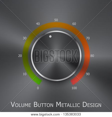 Volume button (music knob) with metal texture (steel chrome) green to red lights scale and light background. Volume button from 0 to 100 scale. Vector illustration.