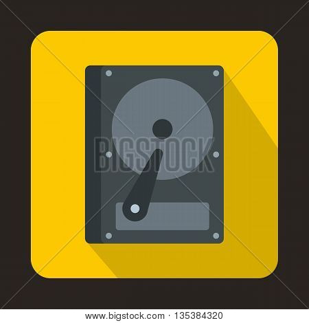 HDD icon in flat style on a yellow background