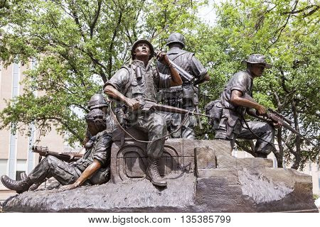 AUSTIN USA - APR 10: The Vietnam War Memorial Statue at the Texas State Capitol in Austin. April 10 2016 in Austin Texas United States