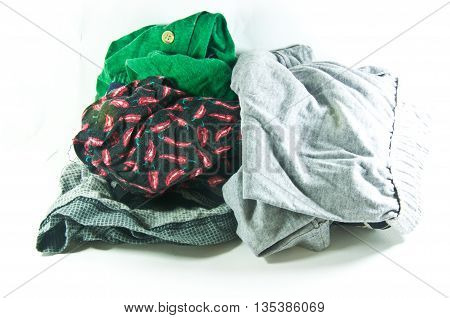pile of grey male underwear isolated on the white background