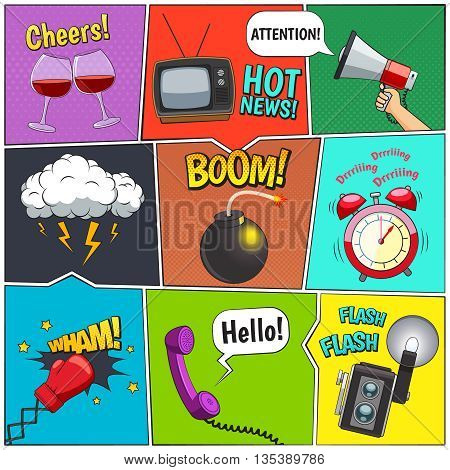Comic books retro design elements collection with alarm clock and thunderstorm clouds with speech bubbles vector illustration