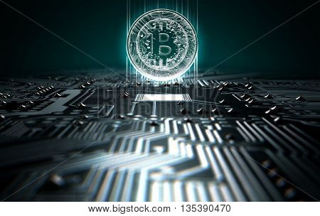 Circuit Board Projecting Bitcoin