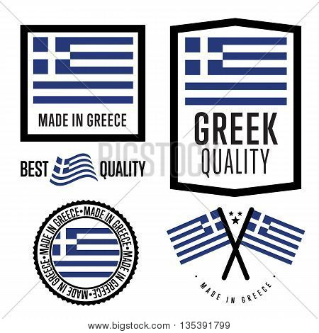 Made in Greece label set. Vector Greek flag. Symbol of quality. Manufacturing by Greece. Tags and sticker collection. Vintage and modern stamp.