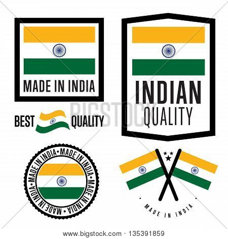 Made in India set. Vector Indian flag. Symbol of quality. Manufacturing by India. Tags and sticker collection. Vintage and modern stamp. Made in India badge. Made in India label.