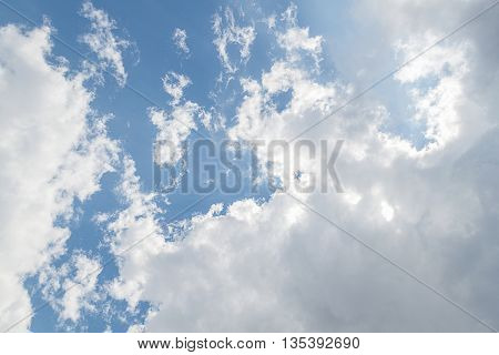 clouds in the blue sky,The vast blue sky and Clouds white fluffy, is covered by white clouds and raincloud.