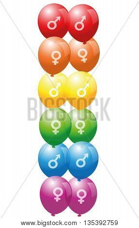 Gay pride balloons with symbols of gay and lesbian love - isolated vector illustration on white background.