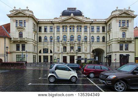 VILNIUS LITHUANIA - JULY 10 2015: Building of Lithuanian National Philharmonic Vilnius Lithuania