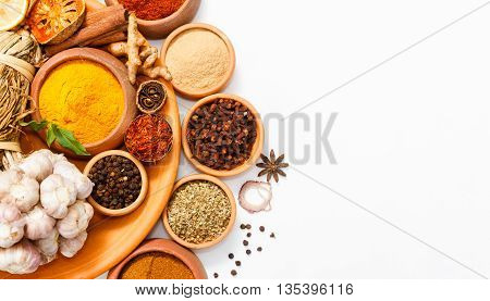 Spices For Herb And Cooking On White Background,top View Spices On White Background,indian Spices Fo