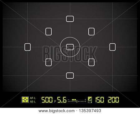 Photo camera viewfinder grid screen with AF dot, exposure and camera settings. Vector black background