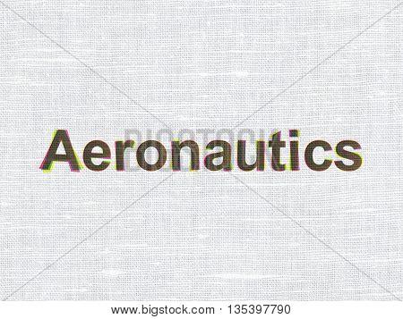 Science concept: CMYK Aeronautics on linen fabric texture background