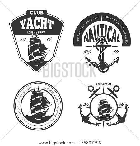 Vintage nautical vector logo, labels and badges. Badge nautical, retro label nautical, anchor vintage, logo nautical, sailing yacht illustration