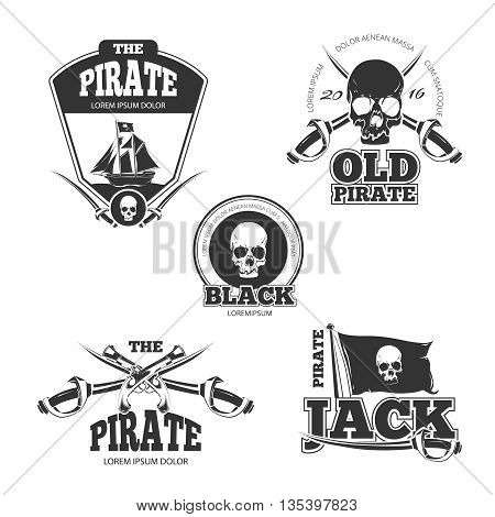 Pirate logo, labels and badges. Vintage vector collection. Pirate stamp, badge and label pirate, vintage emblem pirate, skull danger illustration