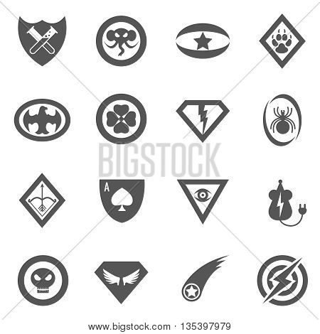 Superhero vector badges, emblems, logos, icons set. Badge superhero, logo superhero, emblem superhero set, sign superhero illustration