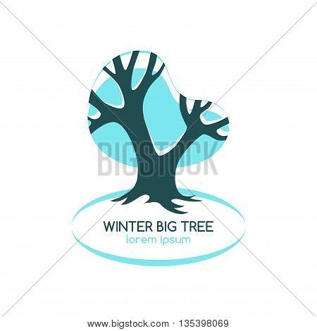 Stylized blue oak, winter season symbol. Tree logo. Vector illustration.