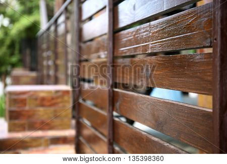 New wooden fence, closeup