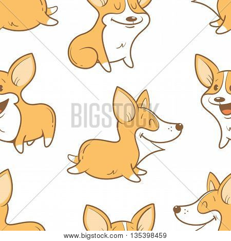 Seamless pattern with cute cartoon dogs breed Welsh Corgi Pembroke on white  background. Little puppies.  Children's illustration. Vector image. Funny animals.