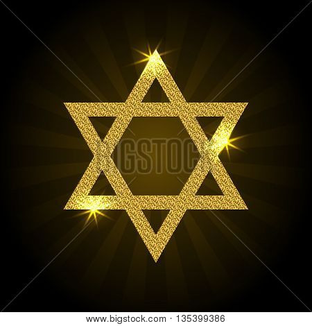 Vector illustration of golden Magen David with rays and sparkle. Star of David on a black background